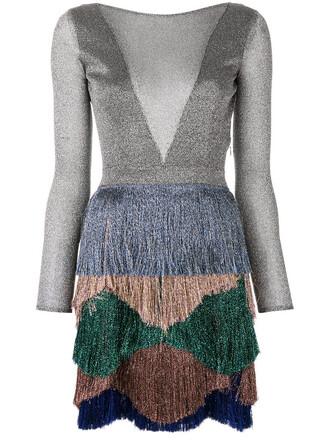 dress fringed dress sheer women spandex silk grey metallic