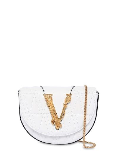 VERSACE Virtus Quilted Leather Belt Bag Optic White