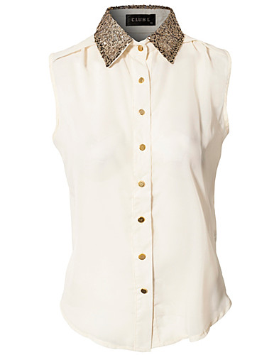 Sequin Stud Detail Blouse - Club L - Cream - Blouses & shirts - Clothing - NELLY.COM UK