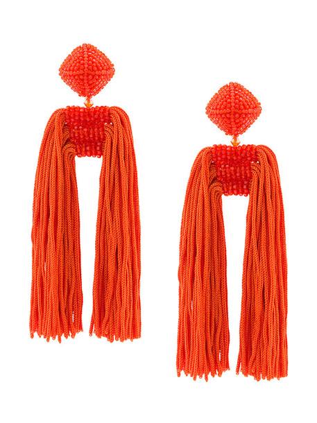 Sachin & Babi women earrings silk yellow orange jewels