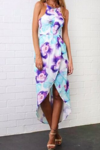 dress floral sexy cute girly summer trendy style stylish purple beach light flowers summer dress summer outfits