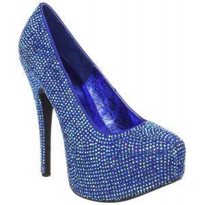 Chaussure sequins, l'escarpin bleu à talon plateforme.