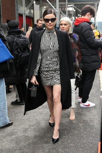 dress black and white mini dress lucy hale coat fashion week ny fashion week 2018 celebrity