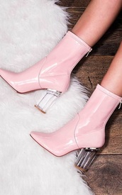 shoes,pink,pastel pink,perspex,instagram,heels,perspex boots,tumblr,instagram baddie,high heels,pink boots