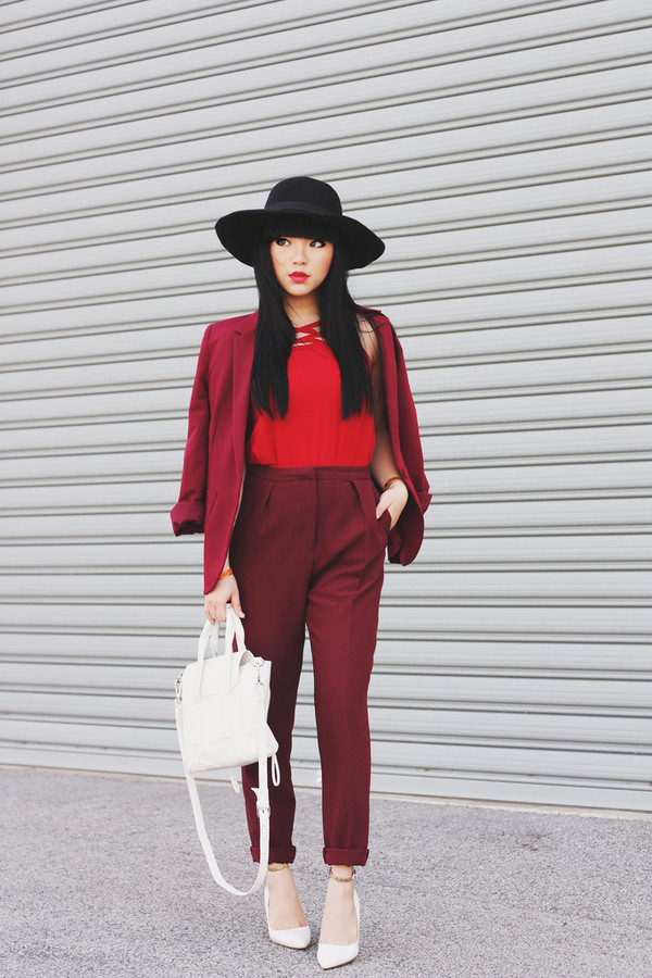pale division hat jacket t-shirt pants shoes coat all red suit big hat red pants red red top red vest