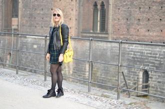 paris grenoble blogger leather jacket tartan