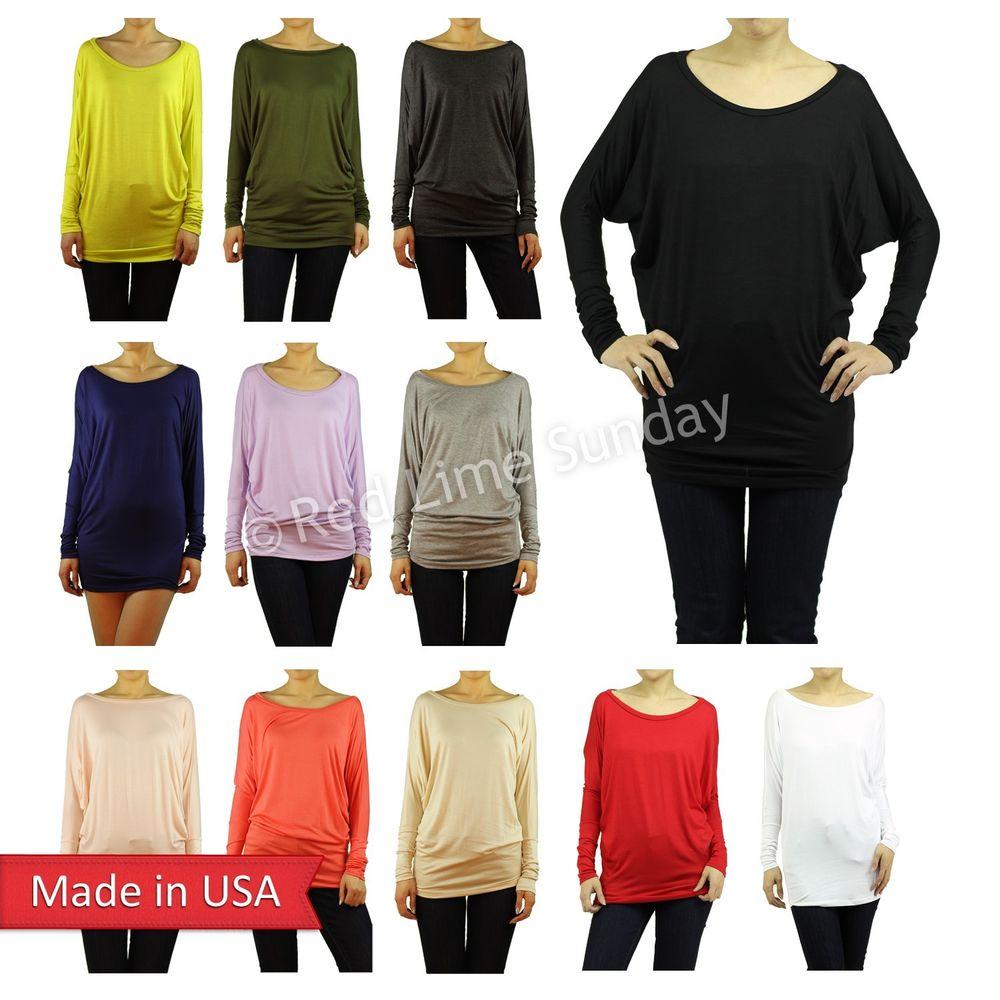 Hot dolman sleeve soft rayon lightweight tunic top shirt blouse regular plus usa