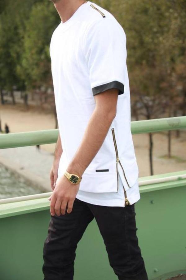 shirt blvck black white zipper shirt trill dope leather gold t-shirt streetwear fashion