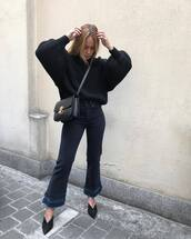 jeans,high waisted jeans,cropped jeans,flare jeans,mules,black sweater,crossbody bag
