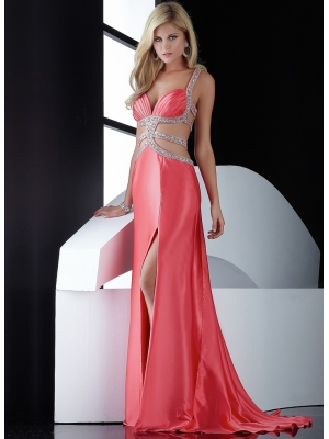 Buy Fascinating A-line Straps Sequins Empire Waist Sweep Train Satin Prom Dress With Split Side  under 300-SinoAnt.com