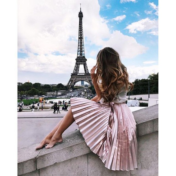 Skirt Tumblr Paris Pink Skirt Pleated Skirt Midi