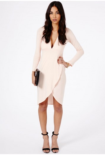 Brodie Plunge Neck Cross Over Midi Dress - Dresses - Missguided