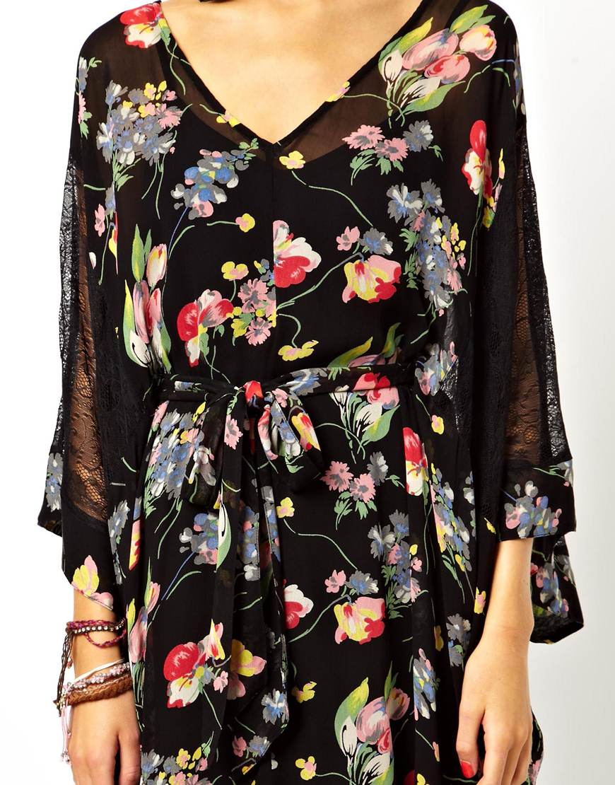 ASOS Lace And Floral Kimono Dress at asos.com