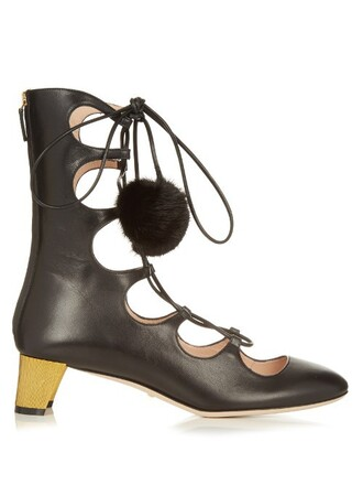 boots leather boots lace leather black shoes