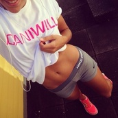 shorts,shoes,shirt,white t-shirt,pink,fitness,gym,gym t shirt,gym clothes,motivation,motivational t shirt,new years resolution,gym shorts,icaniwill,drifit,workout,athletic,white