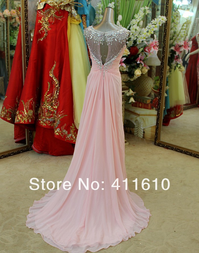 Aliexpress.com : Buy Free Shipping Jewel Cap Sleeves Appliques Sash Chiffon Pink Full Length Evening Gown 2013 Bridesmaid Dresses from Reliable evening gown suppliers on Amana's wedding dress store
