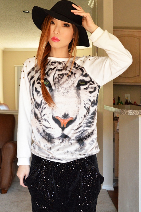 Tiger Print Rivets Embellished Sweatshirt - OASAP.com