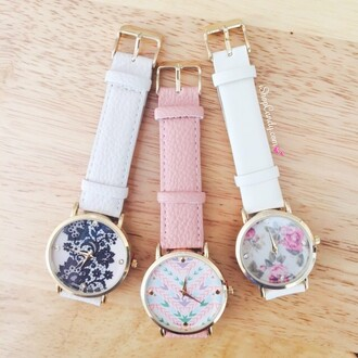 jewels ishopcandy.com ishopcandy watch floral watch lace watch aztec aztec print watch pretty beautiful pink leather white ivory fashion style ootd