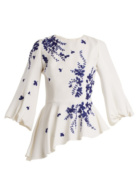 ANDREW GN blouse embroidered embellished floral white blue top