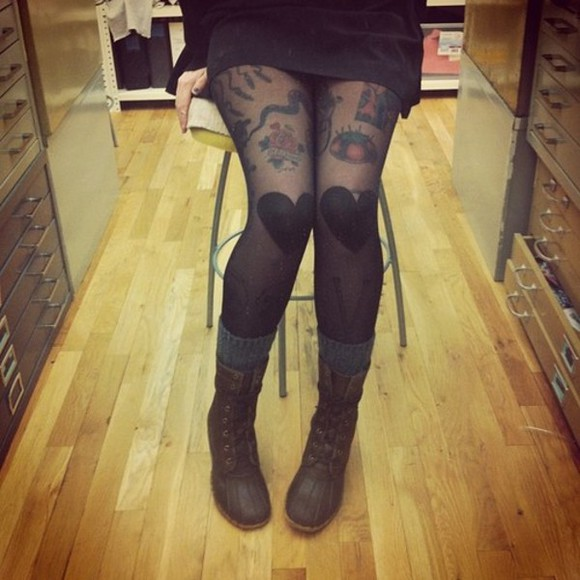 hearts underwear tights black boots socks