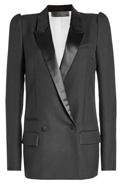 Haider Ackermann Wool Blazer with Velvet and Satin Lapels  in black