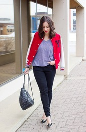 adventures in fashion,blogger,baseball jacket,red jacket,backpack,kate spade,jacket,top,jeans,shoes,jewels,back to school,black backpack,grey top,black jeans,pumps