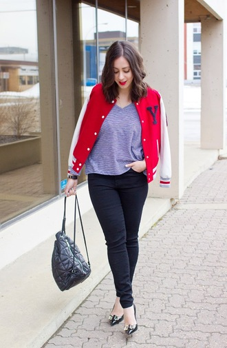 adventures in fashion blogger baseball jacket red jacket backpack kate spade jacket top jeans shoes jewels back to school black backpack grey top black jeans pumps
