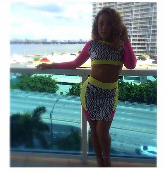 skirt crop tops two-piece two-piece neon pattern