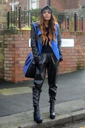 she wears fashion,jacket,pants,sweater,shoes,bag