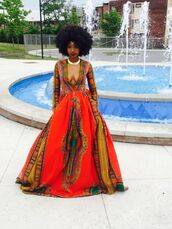 dress,party dress,prom dress,african dress,african print,aztec print dress,patterned dress,red dress,dope prom dress,orange,hair accessory,headband,headpiece,prom