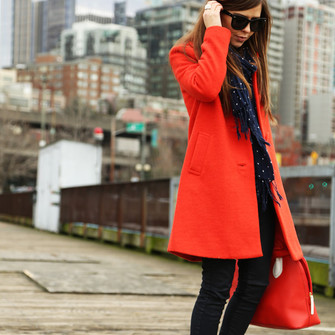 scarf blogger red bag ballet flats red coat black jeans dress corilynn scarf red