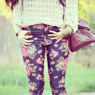 pants floral pants floral foral flowers jeans