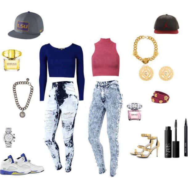 celebrity style urban snapback jeans shirt
