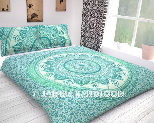 Cheap mandala bedding set with pillow cases in green color - Ellen