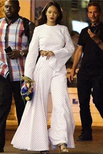crop tops striped pants bag sandals high heels sandal heels rihanna shoes all white everything