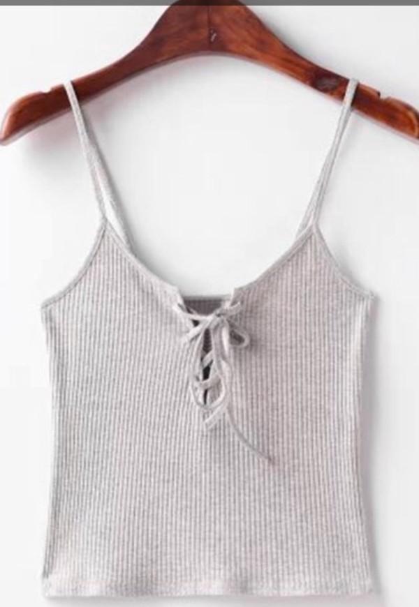 White Plunge Lattice Lace Up Front Cami Crop Top - Choies.com 3e2c45215