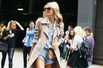 jacket trench coat beige blouse sunglasses