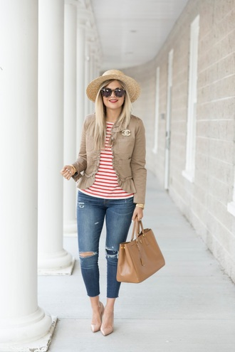 suburban faux-pas blogger hat jacket shirt jeans sunglasses shoes bag jewels
