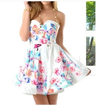 dress fashion girly girly dress style short dress multicolor skater dress white dress