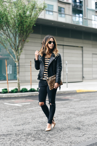 crystalin marie blogger jacket jeans shoes bag pants sunglasses belt black ripped jeans leopard print black jeans leather jacket aviator sunglasses clutch nude heels