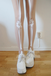 shoes,platform shoes,creepers,pants,skeleton,clothes,vintage,tumblr clothes,tights,dope,style,white,leggings,translucent,skull,bones,legs,cream,tumblr,tumblr outfit,transparent,skeleton leggings