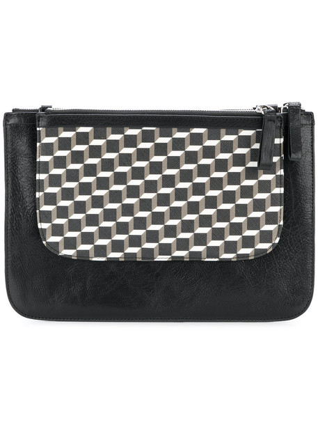 Pierre Hardy women geometric clutch leather black pattern bag