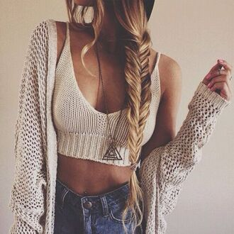 cardigan top oversized hipster sweater fall outfits jacket knitwear crop tops nude top bra bralette bandeau top nude knitted crop top braid jewels tank top