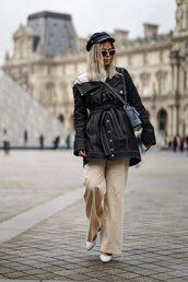 jacket,pants,white shoes,shoes,hat,sailor,bag,sunglasses