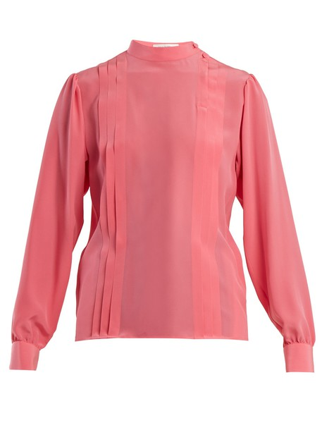 blouse pleated silk pink top