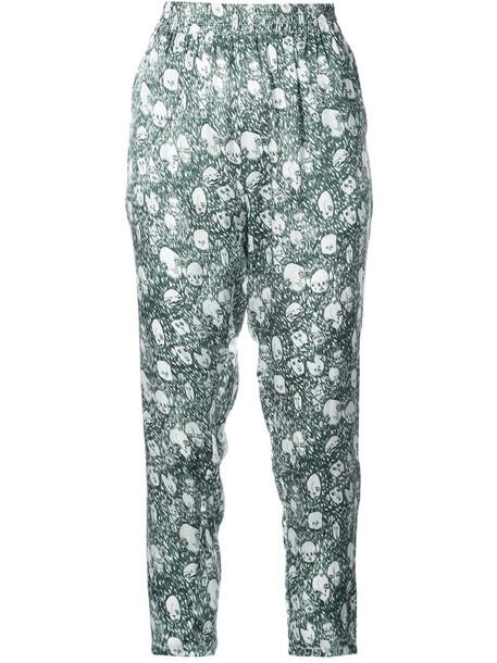 cropped women print silk green pants