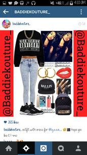ballin,outfit,outfit idea,baddiekouture_,jeans,bag,jewels