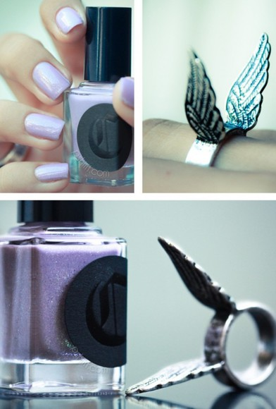 grey jewels jewels nail polish wings purple