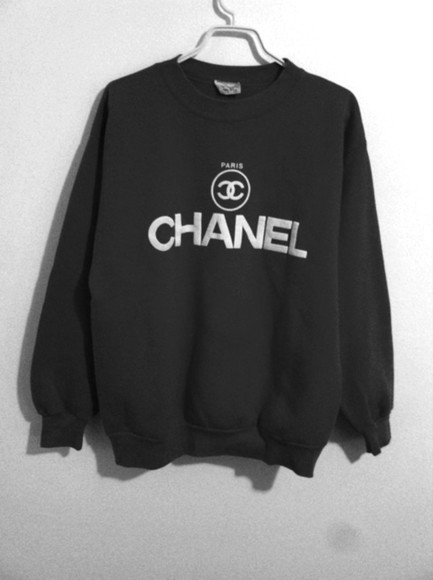designer black sweater chanel jumper sweatshirt chanel logo logo
