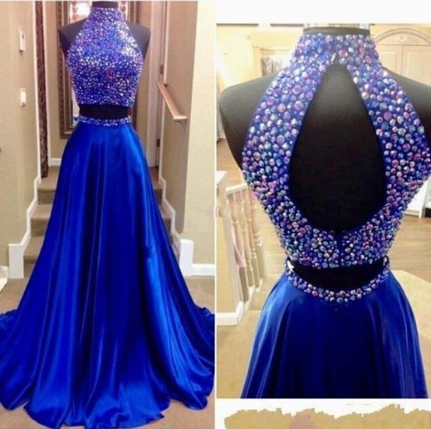 e952c701f1f dress prom dress gown royal blue dress sequin dress two piece prom dresses